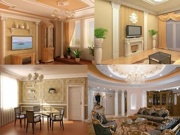 Богатый интерьер, колонны, лепнина