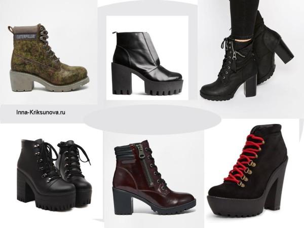 Осенние ботинки на каблуках, мода 2015