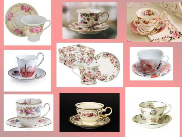 Чайные чашки с цветочным орнаментом
