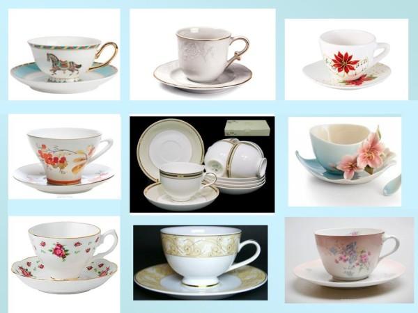 Чайные чашки светлые и белые