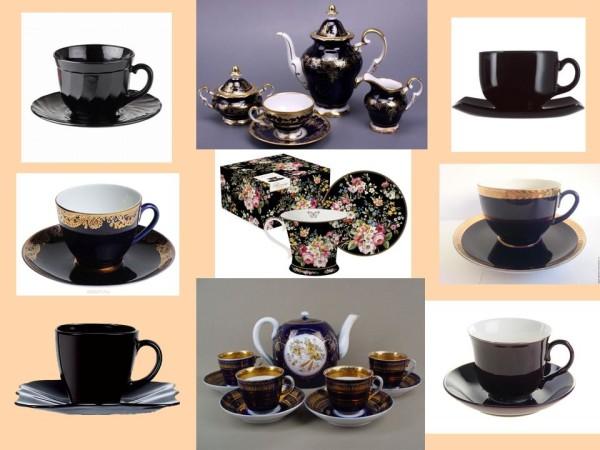 Чайные чашки с темным фоном