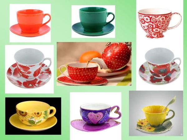 Чайные чашки с ярким узором