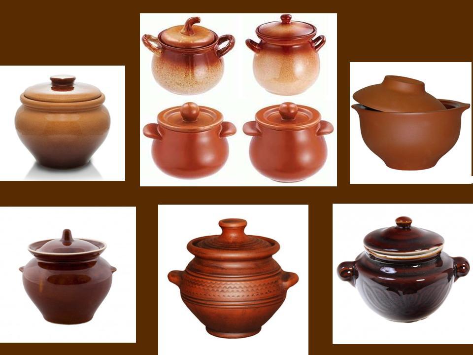 Посуда из керамики, горшочки