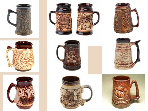 Кружки для пива, керамика, коричневые
