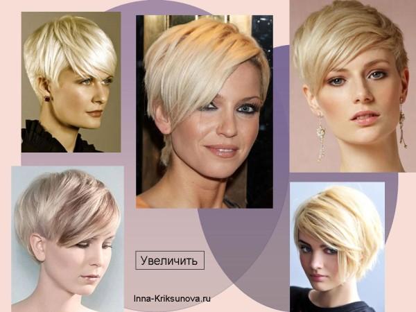 Короткие стрижки для блондинок, асимметрия