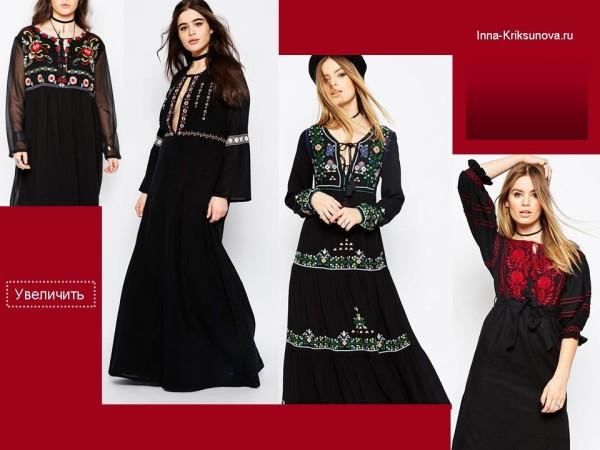 Платья с вышивкой, этно стиль