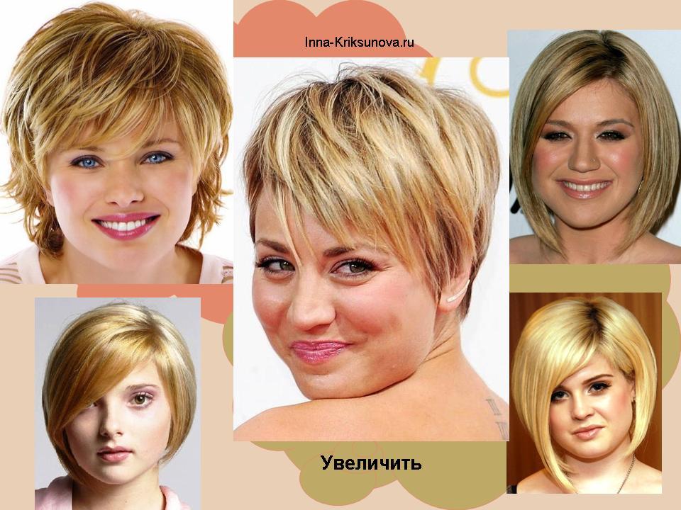 причёска для круглого полного лица фото