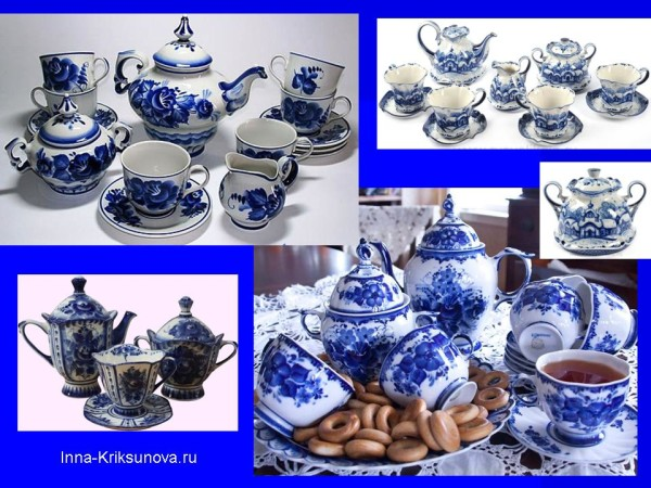 Гжель. Чашки и блюдца, чайные сервизы
