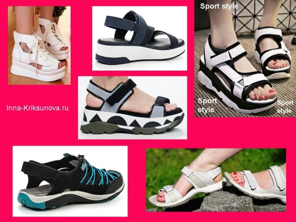 Босоножки и сандалии, спортивный стиль. Черные и белые