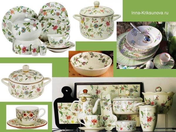 Посуда, стиль кантри, цветочный рисунок