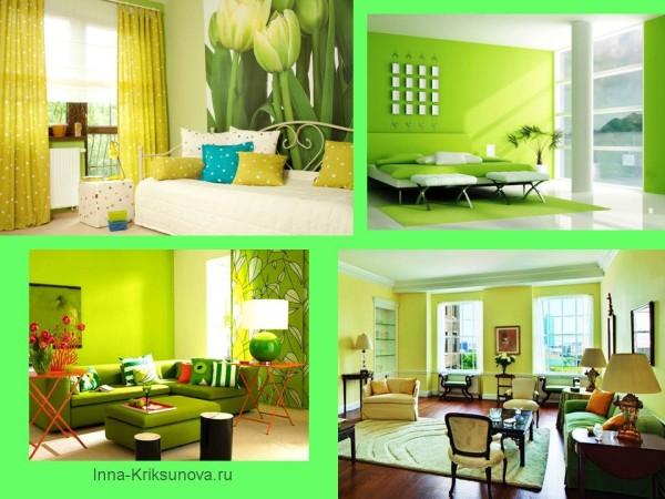 Интерьер, салатовый цвет. Гостиная комната