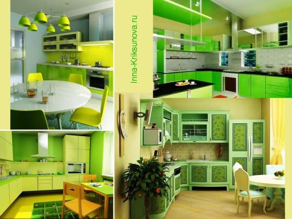 Интерьер, салатовый цвет. Кухня
