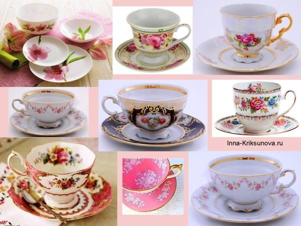 Посуда с цветочным рисунком: чашки и блюдца