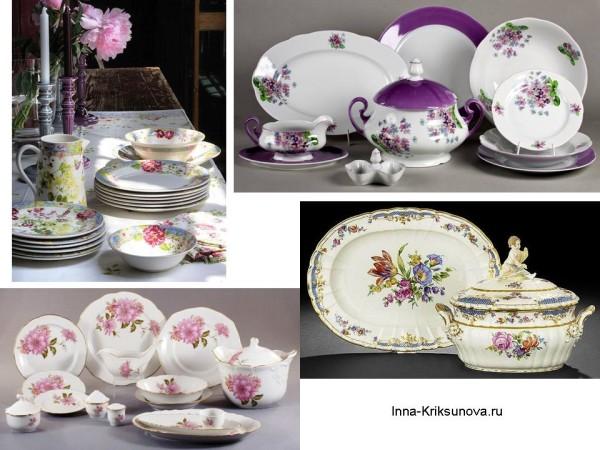 Посуда с цветочным узором: столовые сервизы