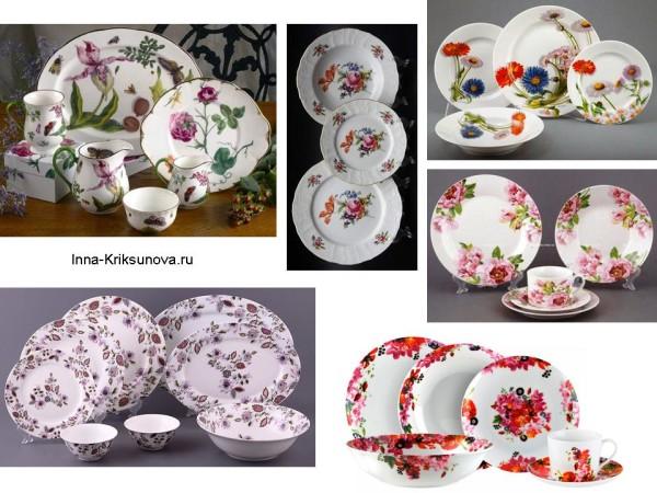 Посуда с цветочным узором: тарелки