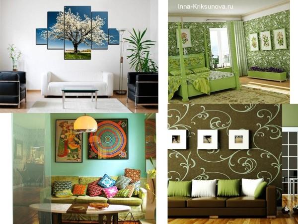 Стена, оформленная картинами, дизайн интерьера