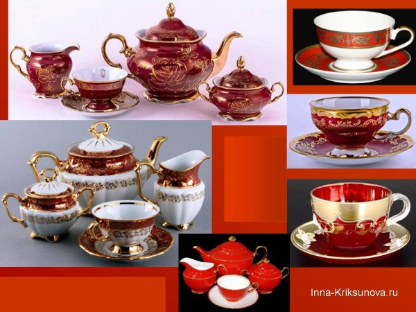 Посуда красная с золотом, чашки и блюдца