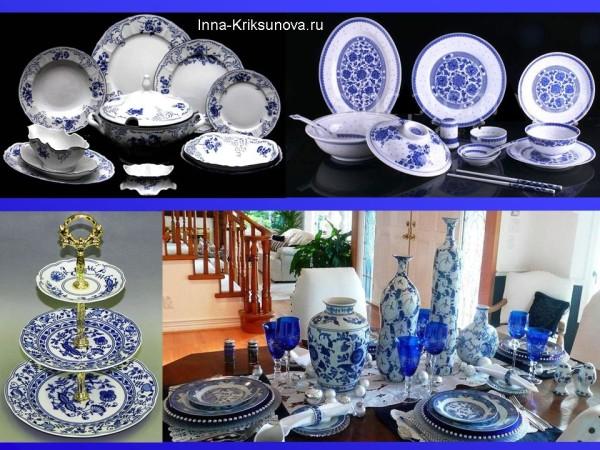 Бело-синяя посуда, тарелки, сервизы