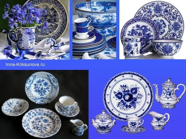 Бело-синяя посуда, чайные наборы