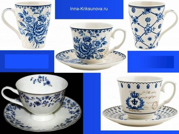 Бело-синяя посуда, чашки, блюдца