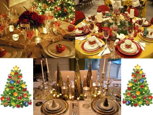 Украшение новогоднего стола, нарядная сервировка