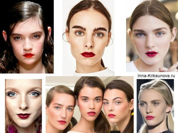 Модный макияж 2017, красные губы