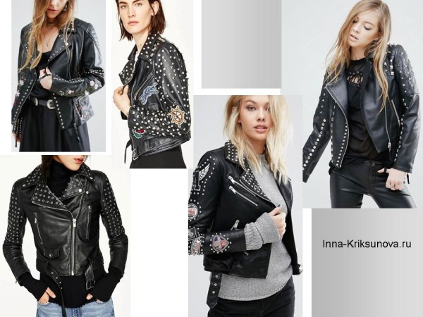 Женские кожаные куртки 2017, байкер стиль