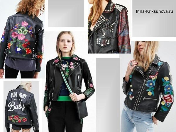 Женские кожаные куртки 2017, этнический стиль
