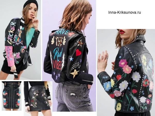 Женские кожаные куртки 2017, этно стиль