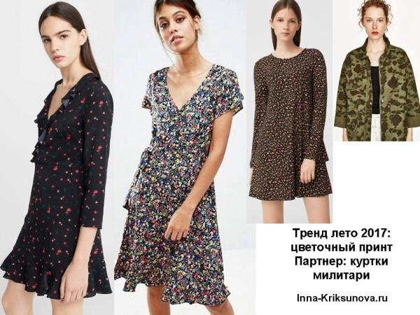 Платья 2017, цветочный принт мелкий