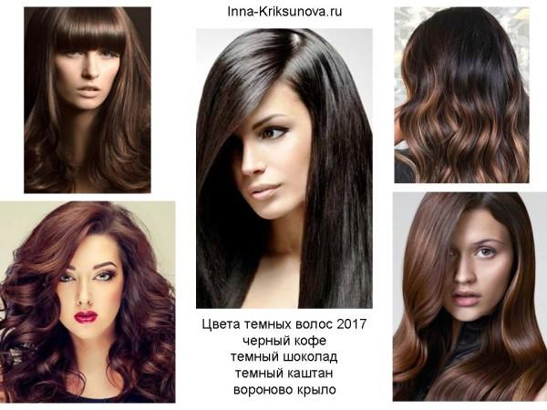 Модные цвета волос 2017, темные тона