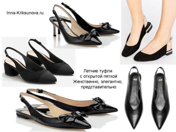 Летние туфли с открытой пяткой, черные