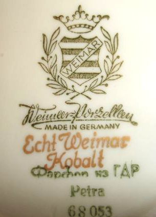 Клеймо фирмы Weimar Porzellan, фарфоровая посуда
