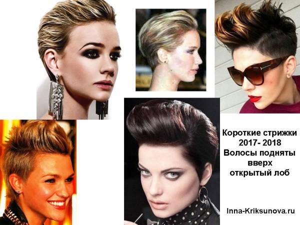 Короткие стрижки 2018, без челки, волосы наверх