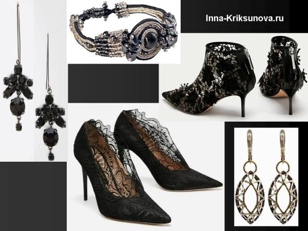 Аксессуары для вечерних платьев: обувь, украшения