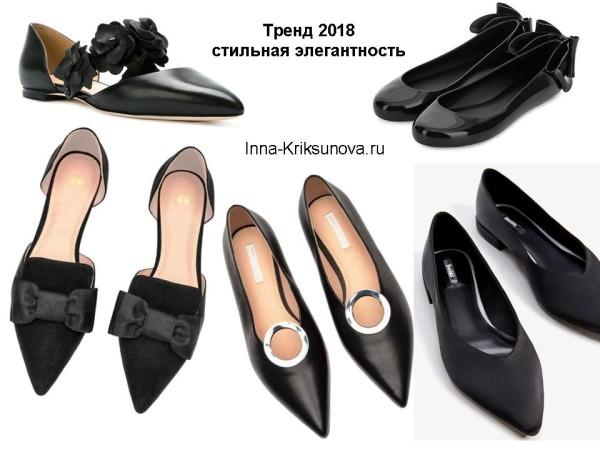 Нарядные туфли без каблука, черные