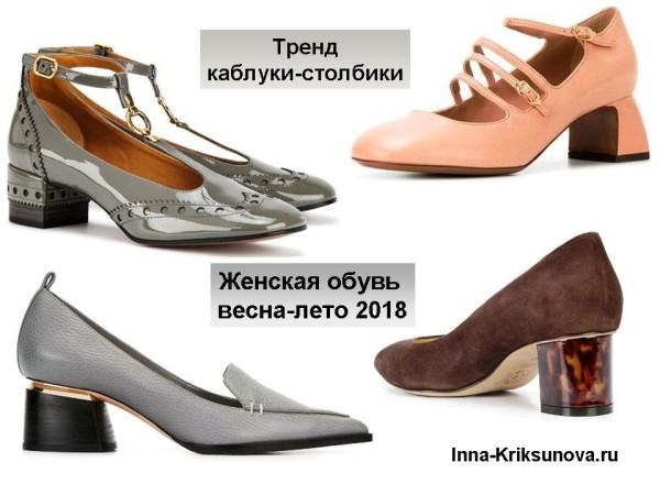 Женская обувь весна-лето 2018, каблуки-столбики