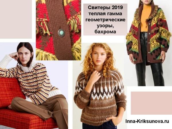 Модные свитеры 2019, узорные вязки